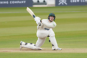 Harry Dearden hits Ollie Rayner for 6 during the Specsavers County Champ Div 2 match between Middlesex County Cricket Club and Leicestershire County Cricket Club at Lord's Cricket Ground, St John's Wood, United Kingdom on 17 May 2019.
