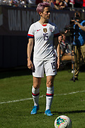 USA forward Megan Rapinoe (15) prepares for a freekick against South Korea during an international friendly in Chicago, Sunday, Oct. 6, 2019, in Chicago. USWNT tied the Korea Republic 1-1. (Max Siker/Image of Sport)