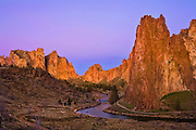Smith Rock, Asterisk Pass and the Crooked River at dawn; Smith Rock State Park, central Oregon.