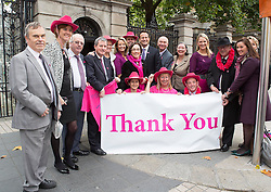 Repro Free: 15/10/2014 <br /> The Minister for Health Leo Varadkar T.D. was joined by other Ministers and TD&rsquo;s and Senators as staff and supporters of the Irish Cancer Society welcomed the Government&rsquo;s decision to make the necessary investment to ensure BreastCheck will be extended to women aged between 65-69 years of age with Senators, Ministers, T.D.&rsquo;s and the Minister for Health Leo Varadkar T.D.. The extension of screening to this age group will save a minimum of 87 lives per year.<br /> The Society has been campaigning for women in the 65-69 age group to be screened for breast cancer since 2011. One in ten of all breast cancers occur in women of this age.  The International Agency for Research on Cancer (IARC) says that quality screening mammography carried out every two years in women who are 50-69 years of age should reduce their risk of dying from breast cancer by about 35%. Picture Andres Poveda