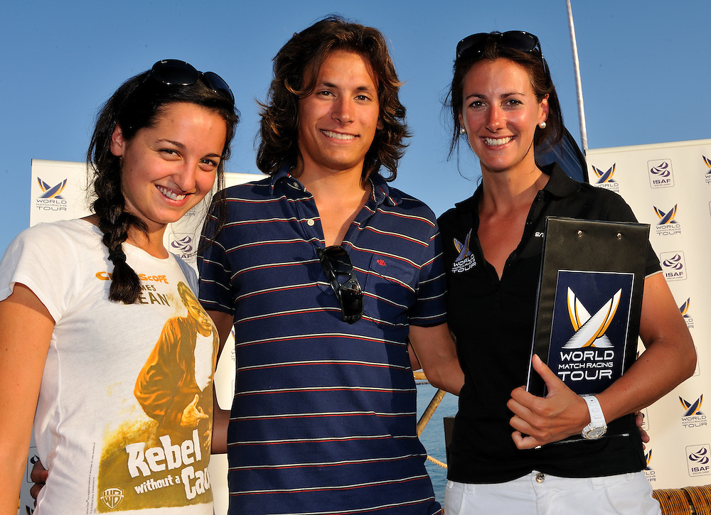 WMRT competition winners Nicolo Zanelli and Bianca Passadore from Italy meet Hannah White. Photo:Chris Davies/WMRT