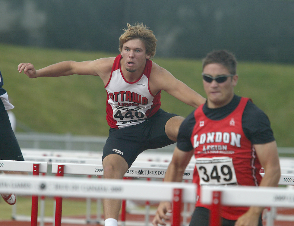 (Charlottetown, Prince Edward Island -- 20090719) Taylor Corney of Ottawa Lions T.F.C. competes in the  (440)\decathlon 110m hurdles at the 2009 Canadian Junior Track & Field Championships at UPEI Alumni Canada Games Place on the campus of the University of Prince Edward Island, July 17-19, 2009.  Copyright Sean Burges / Mundo Sport Images , 2009...Mundo Sport Images has been contracted by Athletics Canada to provide images to the media.
