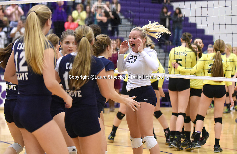 Laura Stoecker/lstoecker@dailyherald.com<br /> Cary-Grove's Delaney Bayer (23) and teammates celebrate their Class 4A sectional championship over Crystal Lake South Thursday in Hampshire.