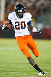 September 11, 2010; Los Angeles, CA, USA;  Virginia Cavaliers wide receiver Tim Smith (20) rushes up field against the Southern California Trojans during the fourth quarter at the Los Angeles Memorial Coliseum.  USC defeated Virginia 17-14.
