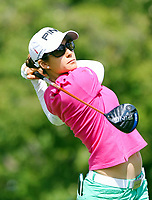 17 August 2014: Azahara Munoz tees off during the final round of the Wegmans LPGA Golf Damen Championship at the Monroe Golf Club in Pittsford,<br /> Norway only