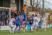 Burton Albion goalkeeper Bradley Collins (40) punching the ball during the EFL Sky Bet League 1 match between AFC Wimbledon and Burton Albion at the Cherry Red Records Stadium, Kingston, England on 9 February 2019.