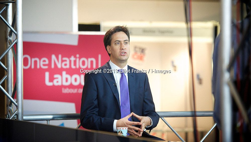 Labour Party Annual Conference 2013. <br /> Leader of the Labour Party Ed Miliband MP speaking on Sky TV, <br /> Brighton, United Kingdom. Wednesday, 25th September 2013. Picture by Elliot Franks / i-Images