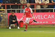 GOAL Paddy Madden celebrates 1-0 during the EFL Sky Bet League 1 match between Fleetwood Town and Rochdale at the Highbury Stadium, Fleetwood, England on 18 August 2018.