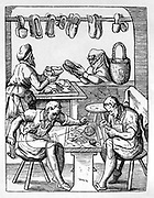 The Shoemaker.   Master craftsman serves female customer at shop window, while his two assistants sew shoes from pieces of leather their master has cut out on his workbench. Woodcut by Jost Amman (1535-1591) Swiss engraver.