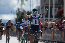 Lotta Lepistö (FIN) of Cervélo-Bigla Cycling Team celebrates winning the Crescent Vargarda - a 152 km road race, starting and finishing in Vargarda on August 13, 2017, in Vastra Gotaland, Sweden. (Photo by Balint Hamvas/Velofocus.com)