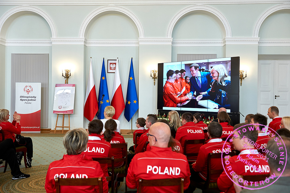 Warsaw, Poland - 2017 March 31: First Lady Agata Kornhauser-Duda looks forward while meeting with  Special Olympics athletes at Polish President's Palace on March 31, 2017 in Warsaw, Poland.<br />