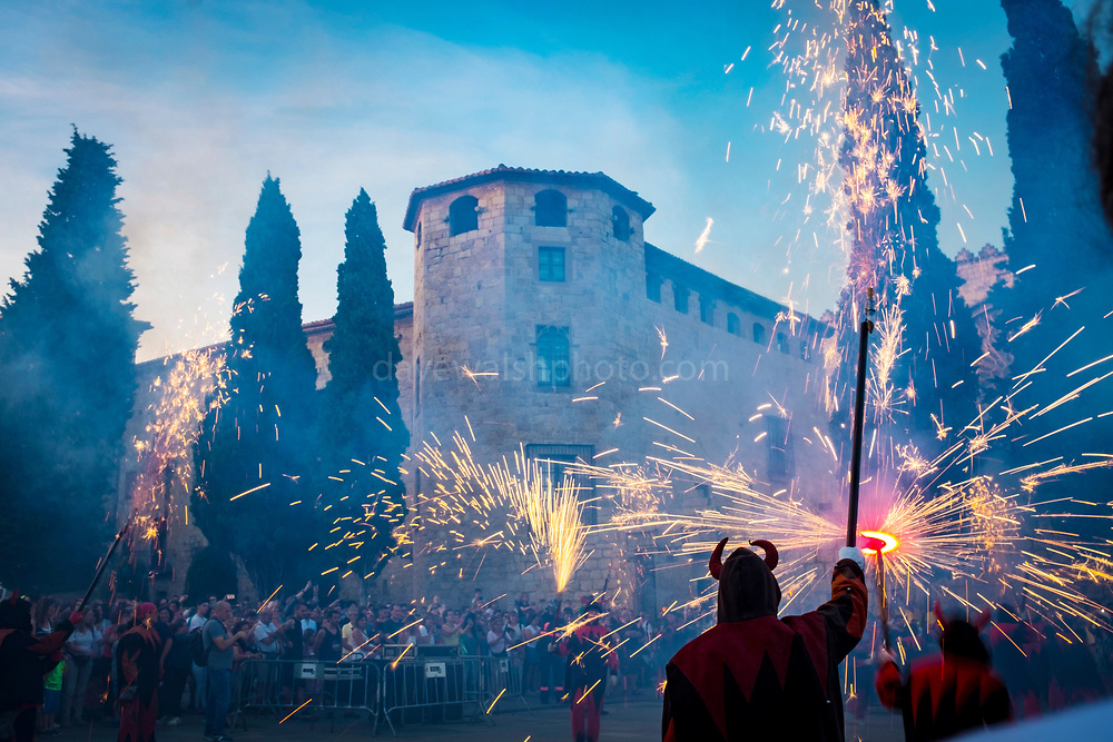 Saint John's Night Celebration 23 June 2019 - The Catalan Festival of Fire. Revetlla de Sant Joan -  Correfoc - fire running -  Placa Octavia, Sant Cugat