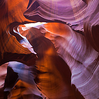 Beautiful colors show in the wind, water and sand carved halls of Antelope Canyon near Page, Arizona.
