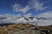 New Zealand, Fiordland Routeburn Track misty mountain Landscape