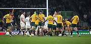 Australia celebrating after England conceded another penalty near to the end of the game during the Rugby World Cup Pool A match between England and Australia at Twickenham, Richmond, United Kingdom on 3 October 2015. Photo by Matthew Redman.