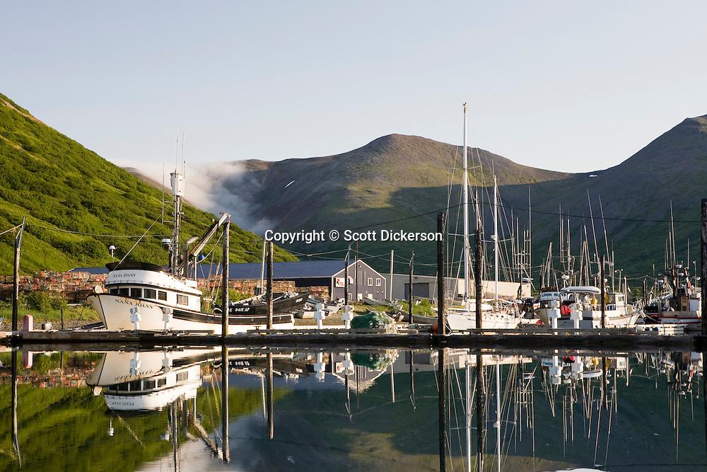 Boats moored in the King Cove harbor, King Cove, Alaska Peninsula, Alaska.