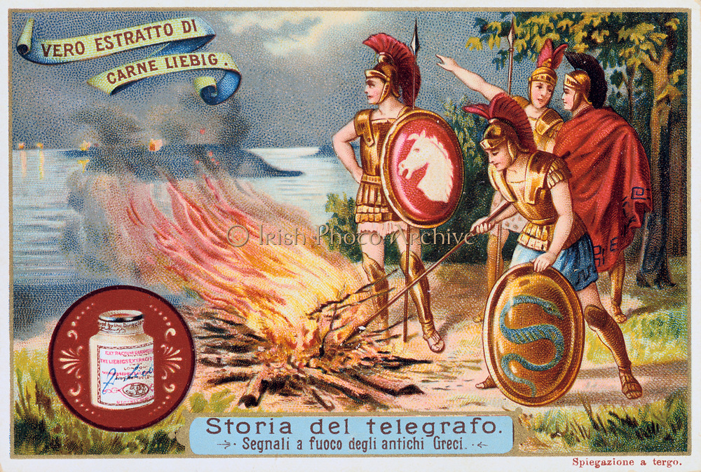 Aerial Telegraph: Ancient Greek soldiers tending a signal fire. It is claimed that news could be transmitted 525 km in a night. Liebig trade card c.1900. Chromolithograph