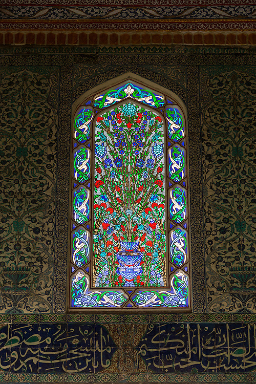 Stained Glass window and Iznik tiles in harem of Privy Chamber of Sultan Murad III, Topkapi Palace, Sarayi, Istanbul, Turkey