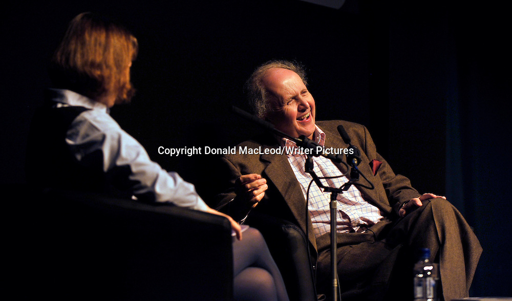 Glasgow Aye Write! Festival - Alexander McCall Smith (photographed in conversation with Rosemary Goring in the Moir Hall of the Mitchell Theatre) saw his Aye Write! Authors Event coincide with the publication of the latest of his No1 Ladies Detective Agency series entitled The Saturday Big Tent Wedding Party