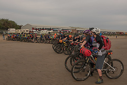 Fifty intrepid mountain bikers set off from Portobello beach this morning on a weekend time-trial tour of the Lothians and Borders. The event - not a race, but more of a personal challenge - will take them just shy of 150 miles over the next two days.<br /> <br /> <br /> &copy; Jon Davey/ EEm