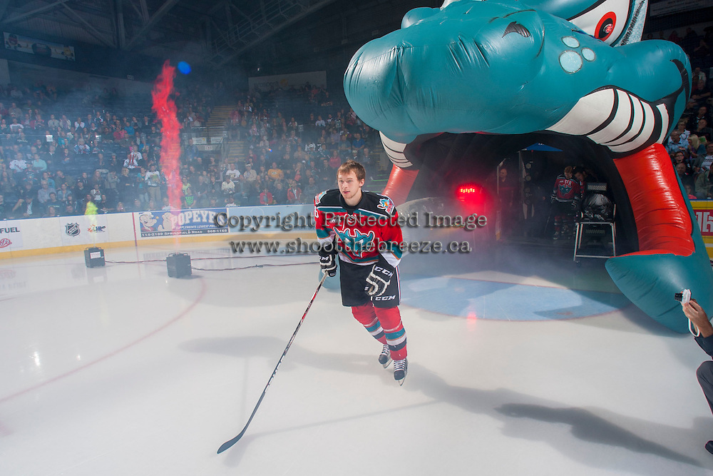 KELOWNA, CANADA - SEPTEMBER 21:  Cole Martin #8 of the Kelowna Rockets enters the ice during the regular season home opener against the Kamloops Blazers at the Kelowna Rockets on September 21, 2013 at Prospera Place in Kelowna, British Columbia, Canada (Photo by Marissa Baecker/Shoot the Breeze) *** Local Caption ***