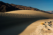 Spectacular early morning view of the Mesquite sand dunes in Death Valley National Park, California.