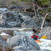 Spring kayaking on the Ellis River, Jackson, NH