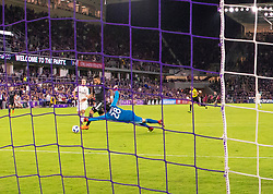 April 21, 2018 - Orlando, FL, U.S. - ORLANDO, FL - APRIL 21: Orlando City forward Dom Dwyer (14) scores his 100th MS goal during the MLS soccer match between the Orlando City FC and the San Jose Earthquakes at Orlando City SC on April 21, 2018 at Orlando City Stadium in Orlando, FL. (Photo by Andrew Bershaw/Icon Sportswire) (Credit Image: © Andrew Bershaw/Icon SMI via ZUMA Press)
