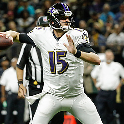 Aug 31, 2017; New Orleans, LA, USA; Baltimore Ravens quarterback Ryan Mallett (15) against the New Orleans Saints during the first half of a preseason game at the Mercedes-Benz Superdome. Mandatory Credit: Derick E. Hingle-USA TODAY Sports