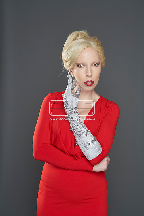 February 22, 2016. Las Vegas, Nevada.  The 22nd Reel Awards and Tribute Artist Convention in Las Vegas. Celebrity lookalikes from all over the world gathered at the Golden Nugget Hotel for the annual event. Pictured is  Lady GaGa lookalike, Tierney Allen.<br /> Copyright John Chapple / www.JohnChapple.com /