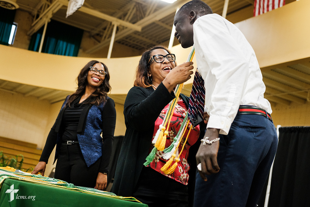Chinester Grayson, registrar, presents honors to a student during the Class of 2018 Graduation & Awards Banquet in the Julius and Mary Jenkins Center on Thursday, April 26, 2018, at Concordia College Alabama in Selma, Ala. LCMS Communications/Erik M. Lunsford