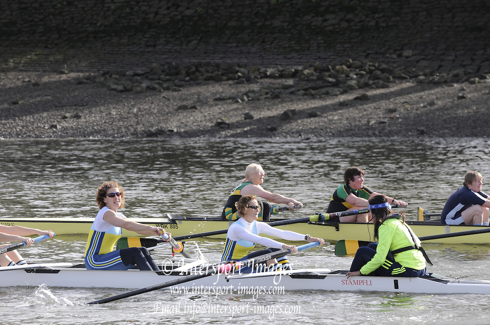 Chiswick, London, GREAT BRITAIN,  Crew 195 Womens' Master crew CC Aniene Roma ITA, passing Chiswick Pier.  2011 Veterans' Head of the River Race, Vets' HORR. Passing Chiswick Pier. Mortlake to Putney,  Championship Course River Thames on Sunday  03/04/2011  [Mandatory Credit, Peter Spurrier/Intersport-images]