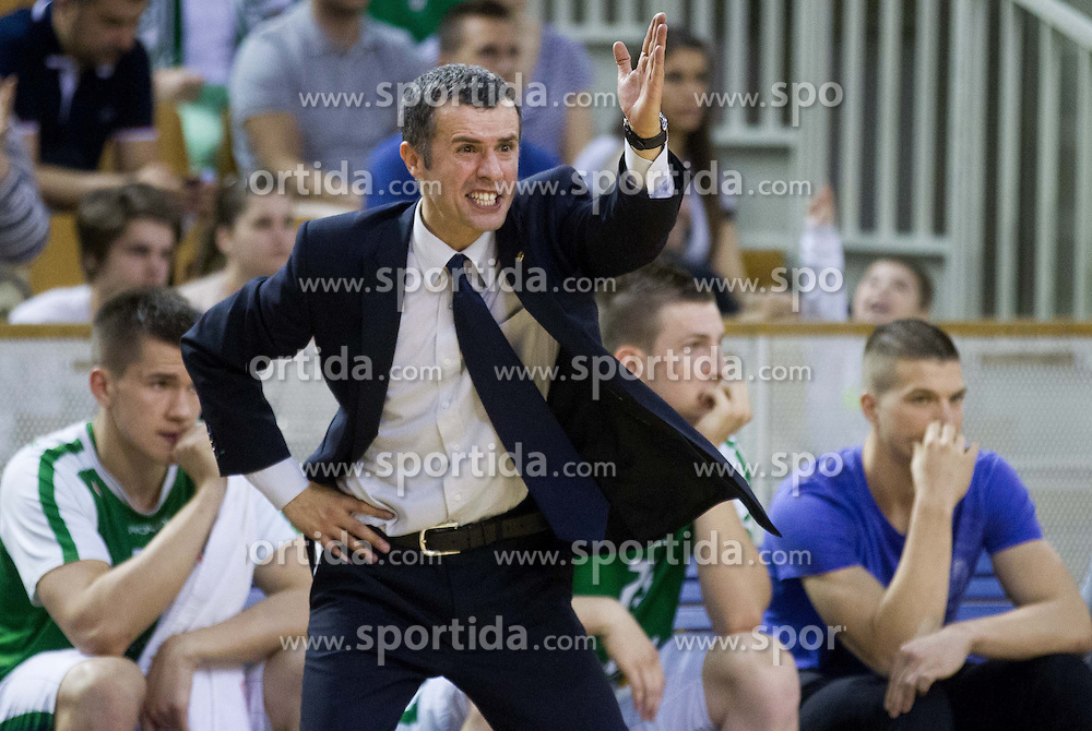 Miro Alilovic, head coach of Union Olimpija during basketball match between KK Union Olimpija and KK Krka in 10th Round of Telemach League 2012/2013, on April 30, 2013, in Hala Tivoli, Ljubljana, Slovenia. (Photo By Vid Ponikvar / Sportida.com)