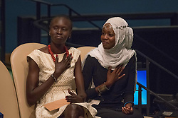 September 16, 2016 - New York, NY, United States - Alek Wek (left) and Emi Mahmoud (right) listen to the Secretary-General's remarks. Three days before the opening of the United Nations high-level Summit on Addressing Large Movements of Migrants and Refugees (September 19), Actor Ben Stiller and former refugee celebrities presented a petition from the #WithRefugees campaign to the UN.  On behalf of the UN, Secretary-General Ban Ki-moon and UN High Commissioner for Refugees Filippo Grandi participated in the event. (Credit Image: © Albin Lohr-Jones/Pacific Press via ZUMA Wire)