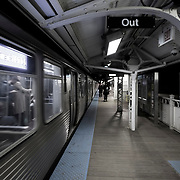 Chicago El Blue Line Trains at Night