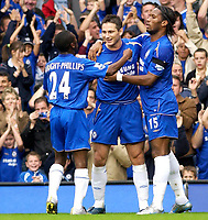 Photo: Daniel Hambury.<br />Chelsea v Blackburn Rovers. The Barclays Premiership.<br />29/10/2005.<br />Chelsea's Frank Lampard celebrates with team mates after making it 2-0.