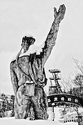 A snow-capped statue of a coal miner stands at the heart of an amusement park in Yubari City, on the northernmost island of Hokkaido in Japan. The amusement park, which is is currently closed, was a local government project aimed at luring tourists after the city's last coal mine closed in 1990. Instead, the park became one of a number of locally generated projects that have driven the city to bankruptcy.