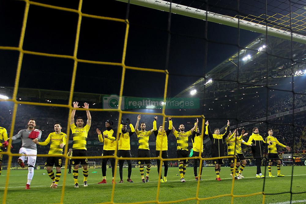 DORTMUND, Dec. 17, 2017  Players of Dortmund celebrate after winning the Bundesliga match between Borussia Dortmund and TSG 1899 Hoffenheim at Signal Iduna Park on December 16, 2017 in Dortmund, Germany. Dortmund won 2-1. (Credit Image: © Joachim Bywaletz/Xinhua via ZUMA Wire)