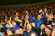 Aston Villa fans celebrate after the final whistle during the EFL Sky Bet Championship match between Derby County and Aston Villa at the Pride Park, Derby, England on 10 November 2018.