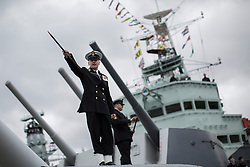 © licensed to London News Pictures. London, UK 15/03/2013. Navy personnel on HMS Belfast celebrating 75th Anniversary of the battleship with HMS Belfast Veterans, City of London Sea Cadets. Photo credit: Tolga Akmen/LNP