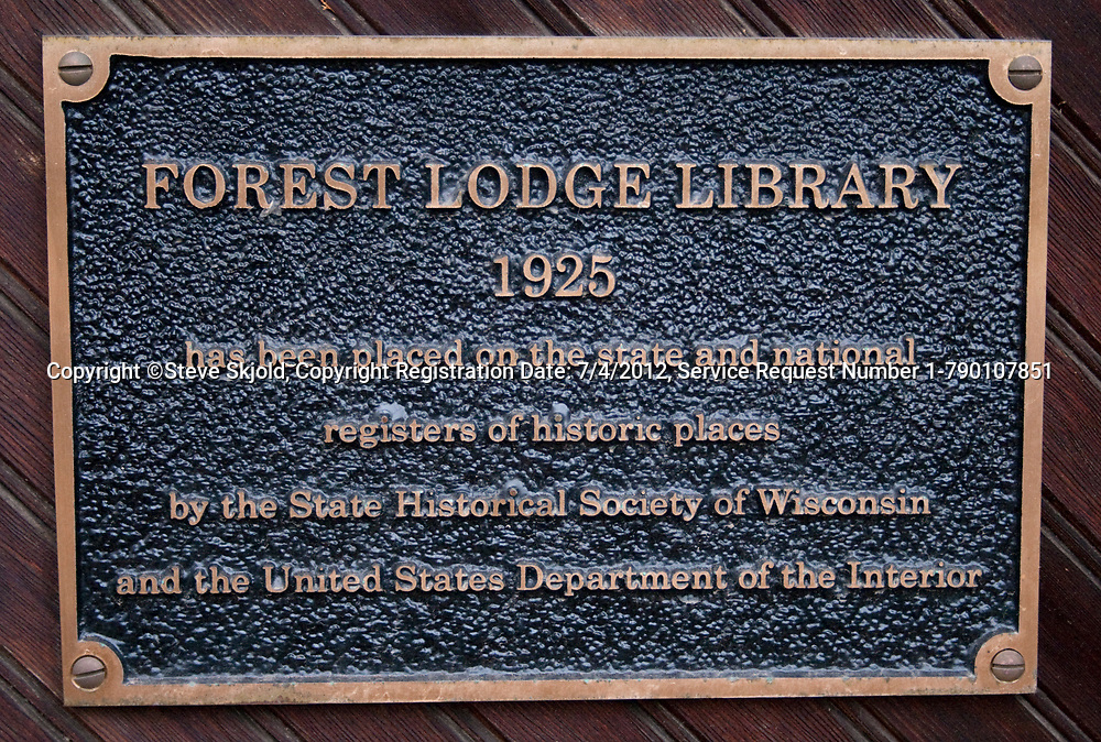 Plaque on Forest Lodge Library designating that it has been placed on the register of historic places. Cable Wisconsin WI USA