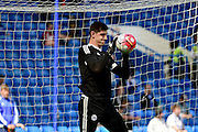 Chelsea Goalkeeper Thibaut Courtois (13) warms up during the Barclays Premier League match between Chelsea and Leicester City at Stamford Bridge, London, England on 15 May 2016. Photo by Jon Bromley.