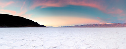 """Sunrise at Badwater Basin 3"" - Stitched panoramic sunrise photograph of salt flat formations at Badwater Basin in Death Valley, California."
