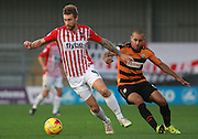 Exeter City midfielder David Noble shields the ball from Barnet midfielder Curtis Weston during the Sky Bet League 2 match between Barnet and Exeter City at The Hive Stadium, London, England on 31 October 2015. Photo by Bennett Dean.