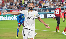 Karim Mostafa Benzema of Real Madrid celebrates a goal past David de Gea of Manchester United in the first half during International Champions Cup action at Hard Rock Stadium in Miami Gardens, FL, USA on Tuesday, July 31, 2018. Manchester United won, 2-1. Photo by Jim Rassol/Sun Sentinel/TNS/ABACAPRESS.COM
