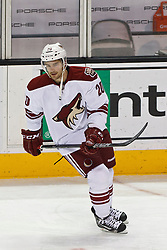 Mar 24, 2012; San Jose, CA, USA; Phoenix Coyotes defenseman Chris Summers (20) warms up before the game against the San Jose Sharks at HP Pavilion.  San Jose defeated Phoenix 4-3 in shootouts. Mandatory Credit: Jason O. Watson-US PRESSWIRE