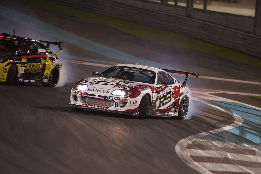 25 feb, formula drift champion ship, yas marina circuit, abu dhabi, ken gushi driving his rsr toyota supra