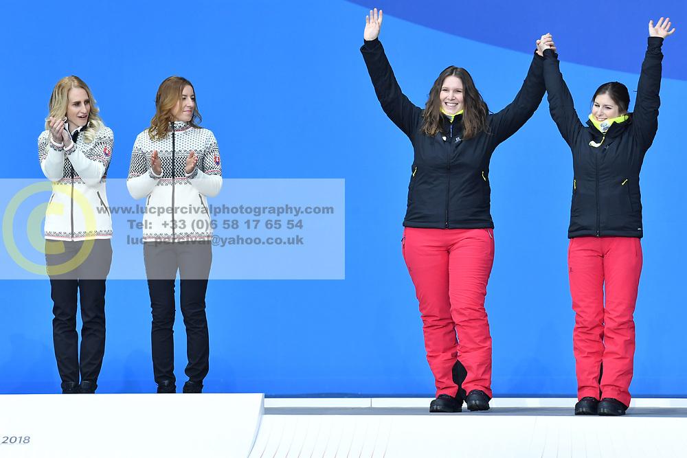 FARKASOVA Henrieta B3 SVK Guide: SUBRTOVA Natalia, SANA Eleonor B2 BEL Guide: SANA Chloe, ParaSkiAlpin, Para Alpine Skiing, Podium at PyeongChang2018 Winter Paralympic Games, South Korea.
