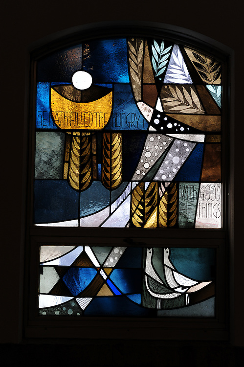 "Stained glass image from Shrine of Our Lady of Good Help in Champion, Wis. ""He Hath Filled The Hungry With Good Things."" (Sam Lucero photo)"
