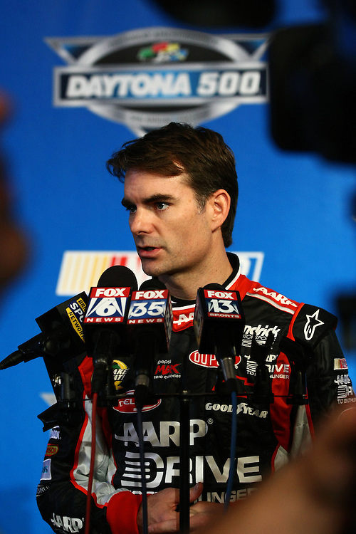 Feb 16, 2012; Daytona Beach, FL, USA; NASCAR Sprint Cup Series driver Jeff Gordon during media day at Daytona International Speedway. Mandatory Credit: Douglas Jones-DDJ Sports Imaging